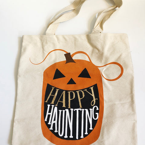 Canvas Halloween Pumpkin Treat Bag