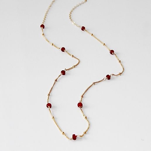Ruby Beaded Chain Necklace