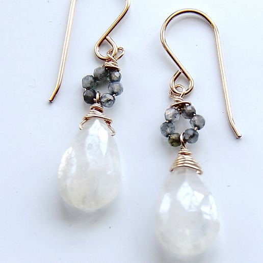 Moonstone & Labradorite Drop Earrings