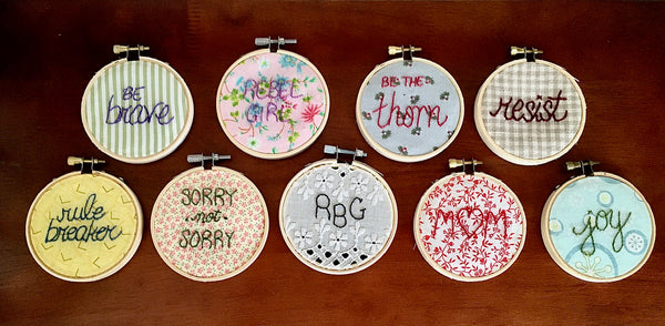 Personalized Hand-Embroidered Message Hoop - Small