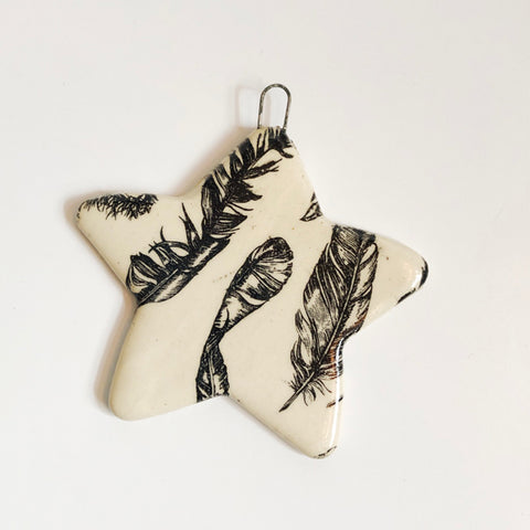 Handmade Ceramic Feather Star Ornament B