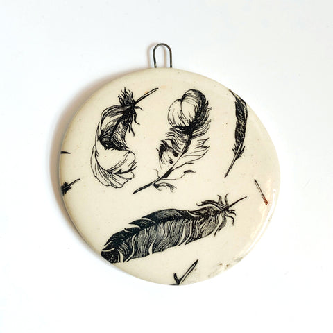 Handmade Ceramic Feather Pattern Ornament C