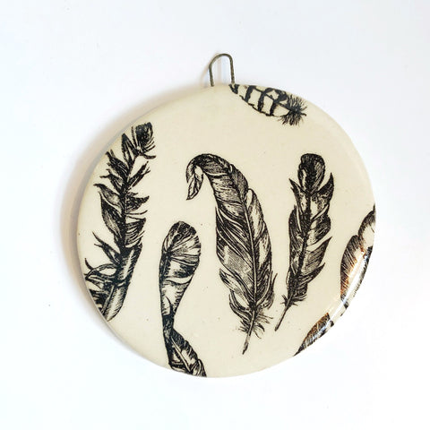 Handmade Ceramic Feather Pattern Ornament D