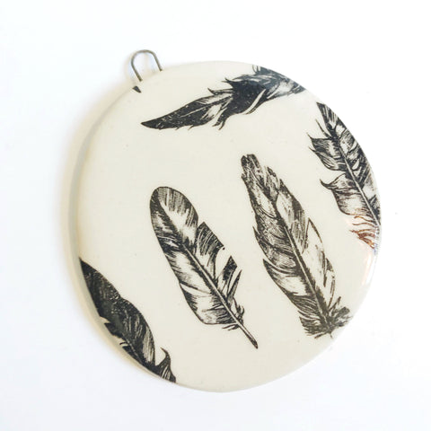 Handmade Ceramic Feather Pattern Ornament A