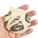 Handmade Ceramic Feather Pattern Ornament B