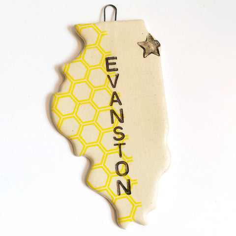 Ceramic Yellow Honeycomb Evanston Love Ornament