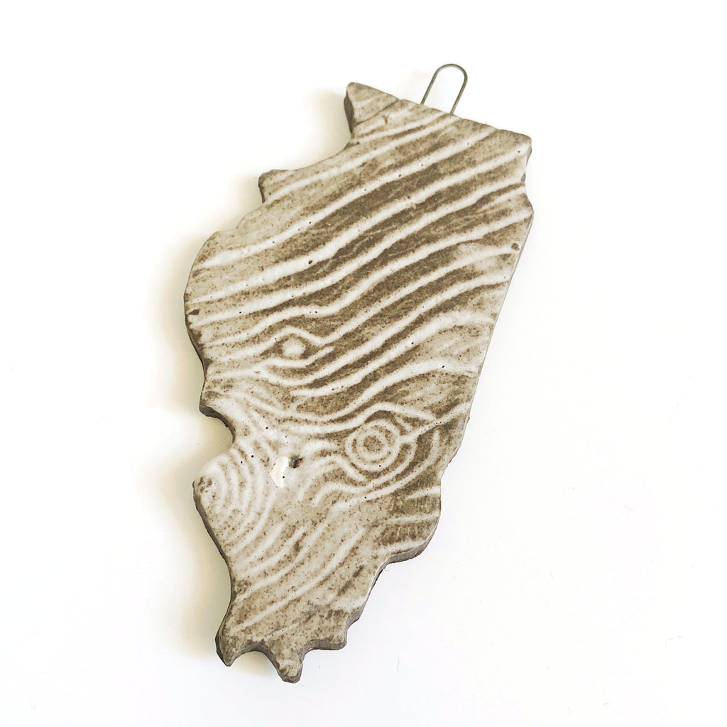 Handmade Ceramic Woodgrain Illinois Ornament