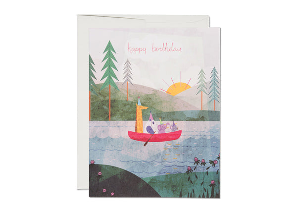 Four Canoe Happy Birthday Card