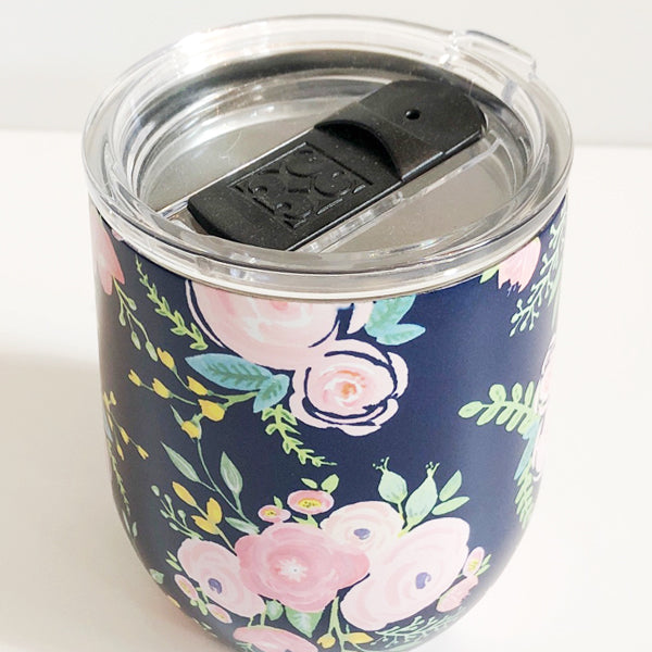 Navy Floral Stainless Steel Wine Tumbler