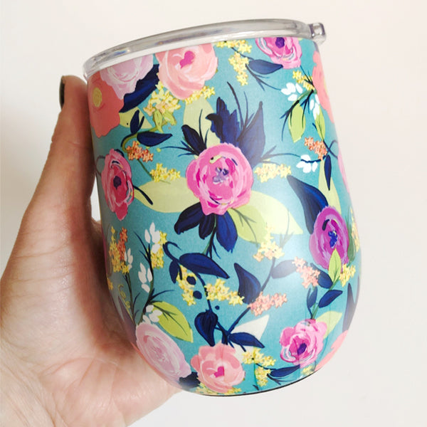 Turquoise Floral Stainless Steel Wine Tumbler