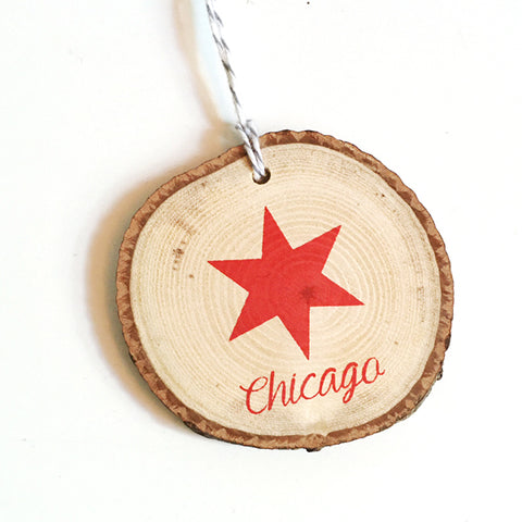 ***SALE*** Chicago Star Wood Ornament