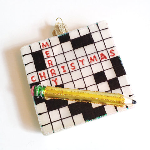 ***SALE*** Glass Crossword Ornament