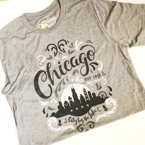 Gray Chicago Flourish Tee