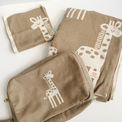 Tan & Cream Baby Giraffe Blanket Set