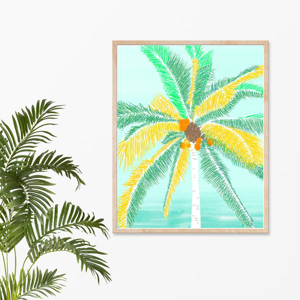 "Palm Tree on Sunny Beach Art Print, 8"" x 10"""