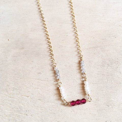 Garnet Line Necklace