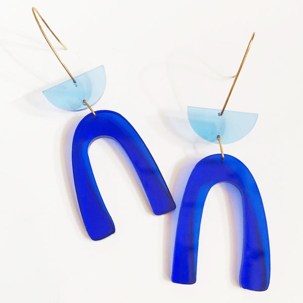 Lucite Blue Arch Earrings