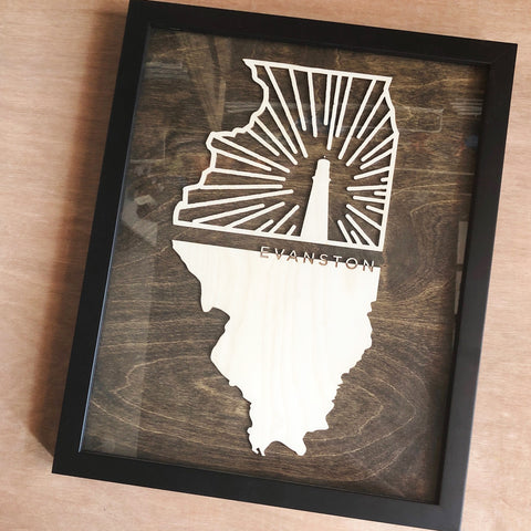 Evanston Woodcut Framed Art