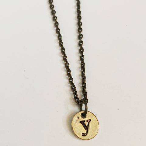 Y Brass Initial Necklace