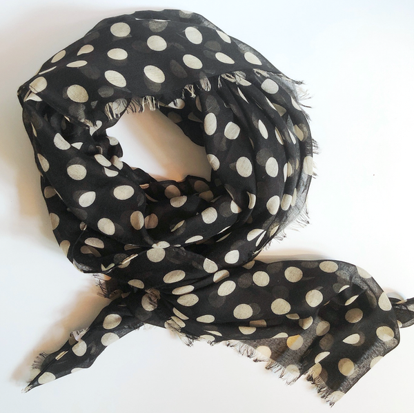 Cream & Black Polka Dot Scarf