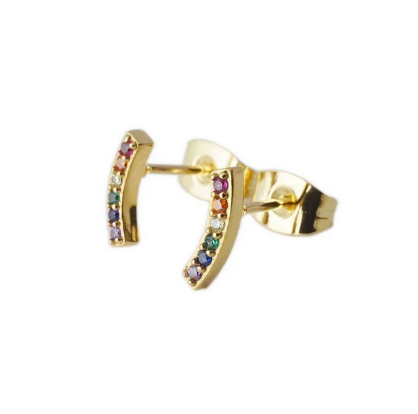 Rainbow Crystal Arc Earring