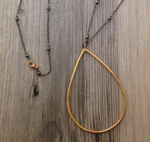 Brass Long Teardrop Necklace