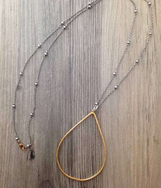 Brass Long Teardrop Necklace with Silver Chain