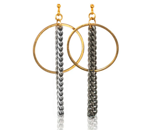Brass Circle-Silver Curb Earrings