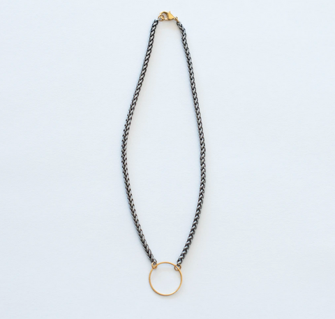 Medium Brass Circle Necklace on Silver Chain