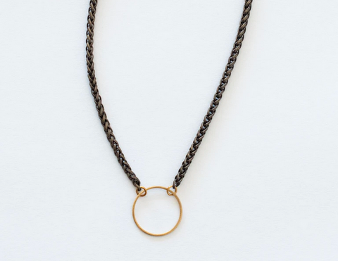 Medium Brass Circle Necklace on Brass Chain