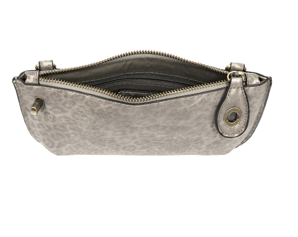 Gray Leopard Crossbody Clutch On-The-Go Purse