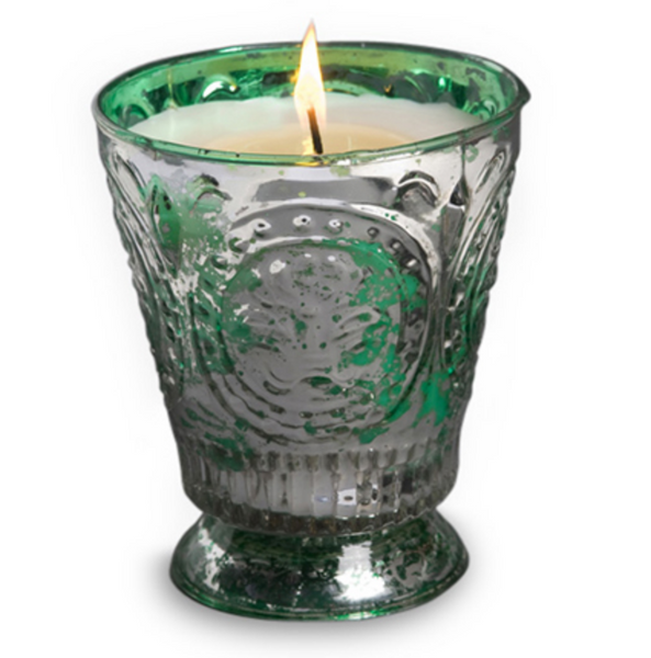 ***SALE*** 8 oz. Green Glass Mistletoe Candle