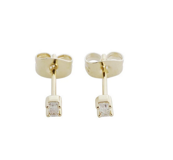 Tiny Crystal Baguette Gold Studs