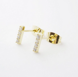 Crystal Bar Gold Studs