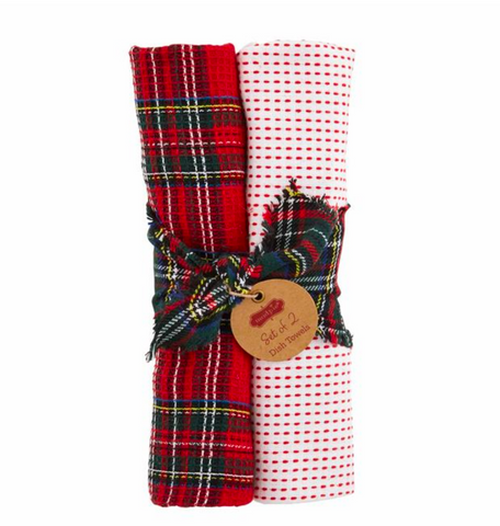 Red Plaid Towel Set