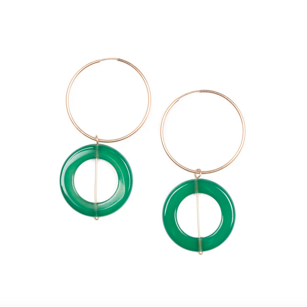 Green Agate Double Hoop Earrings