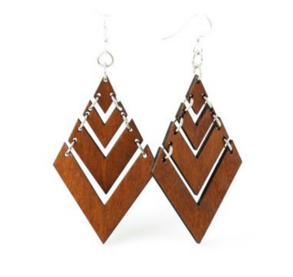 Natural Wood Diamond Chevron Wood Earrings