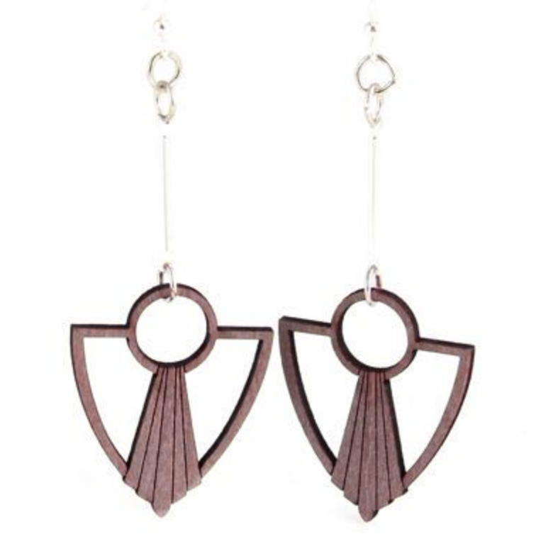 Art Deco Drop Wood Earrings