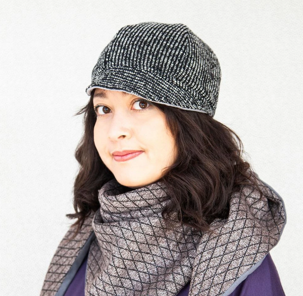 Bella Hat in Lightweight Black and White Boucle with Grey Reverse (Reversible)