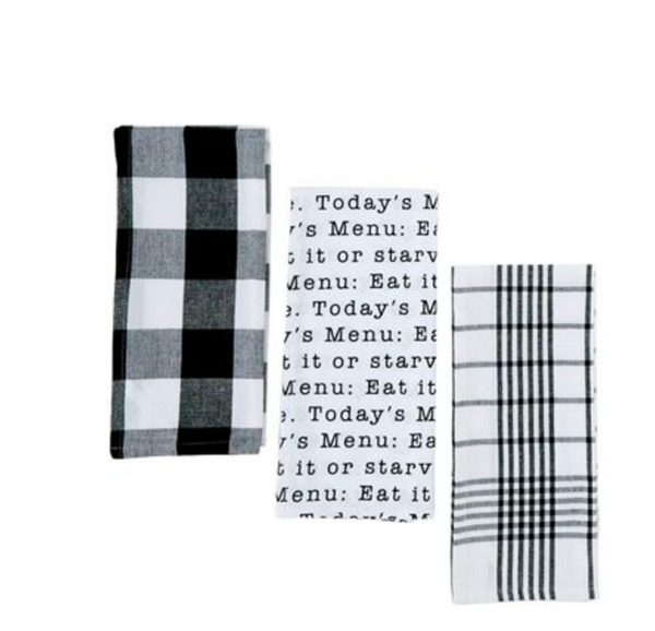 Black & White Plaid 3 Towel Set