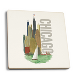 Chicago - Illinois Watercolor Skyline Ceramic Coasters
