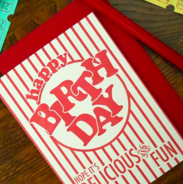 Birthday Popcorn Package Card