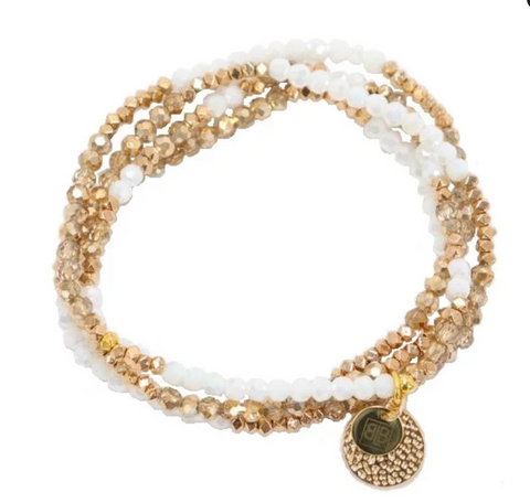 White & Gold Wrap Bracelet or Necklace