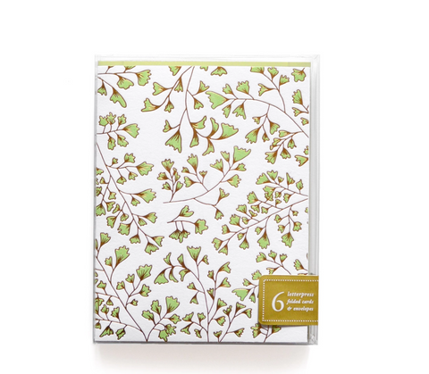 Green Leaf Box of 6 Notes