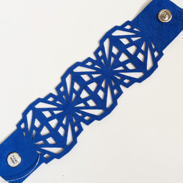 Blue Ultrasuede Shattered Bracelet
