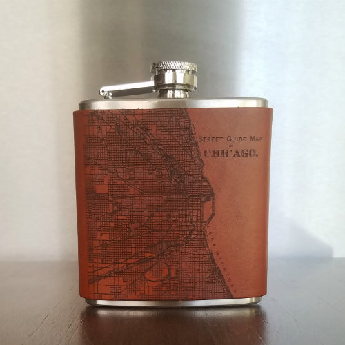 Handmade Chicago and Evanston Leather Flasks