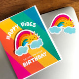 Sunny Rainbow Birthday Sticker Card