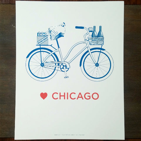 "Love Chicago Bicycle Letterpress 11"" x 14"" Print"