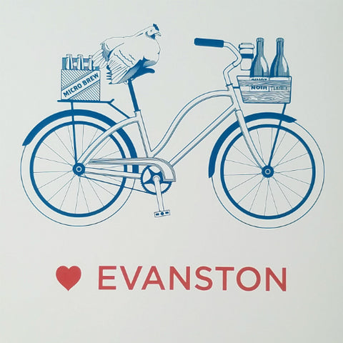 "Love Evanston Bicycle Letterpress 11"" x 14"" Print"