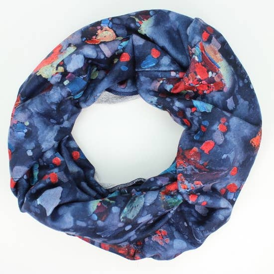 Heather Jersey Navy Floral Infinity Scarf